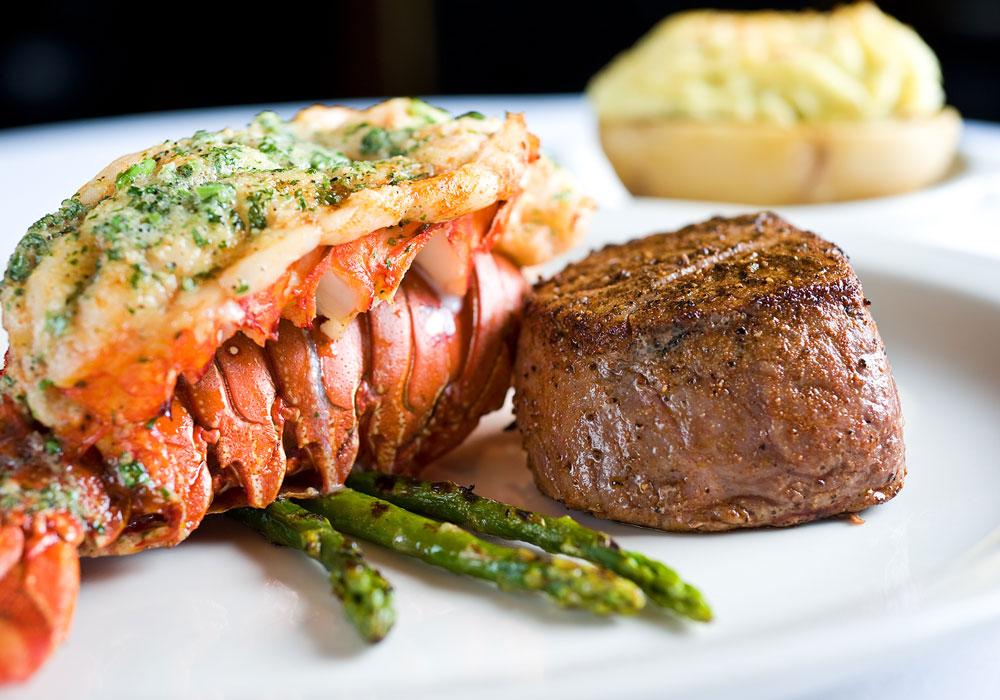 fancy lobster and steak meal