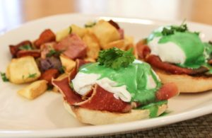 Oak Grill Green Eggs Benedict