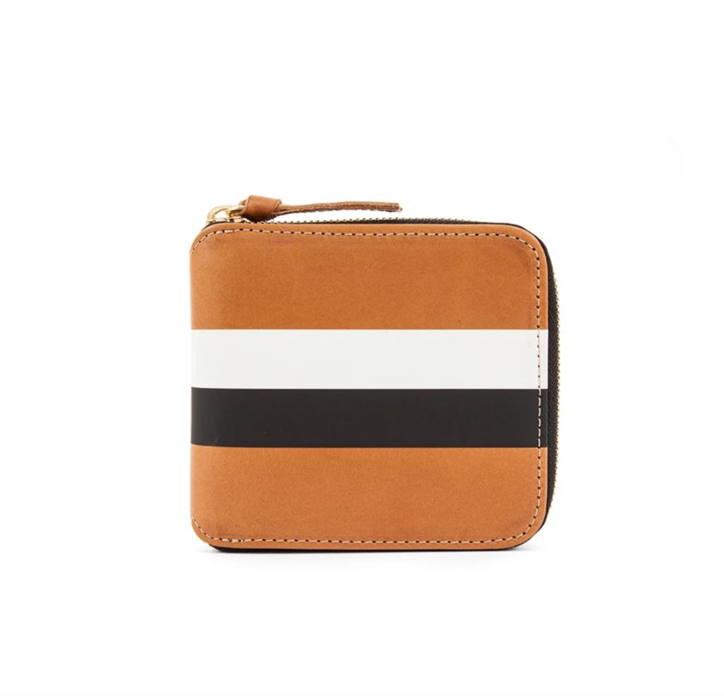 Cuoio Vachetta with Black and Cream Stripes Half Zip Wallet